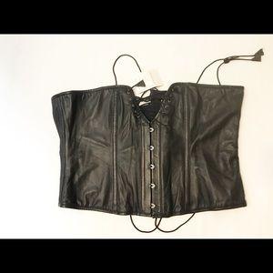 NWT alter ego lambskin black corset size 44